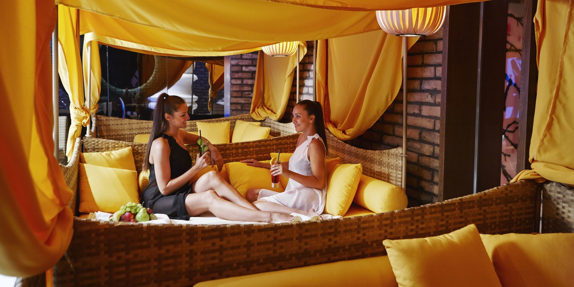 Yellow canopies are avaialble for guests to relax and lounge in.